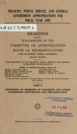 Treasury, Postal Service, and general government appropriations for fiscal year 1995 : hearings before a subcommittee of the Committee on Appropriations, House of Representatives, One Hundred Third Congress, second session Pt. 6_cover