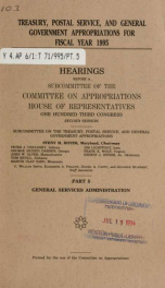 Treasury, Postal Service, and general government appropriations for fiscal year 1995 : hearings before a subcommittee of the Committee on Appropriations, House of Representatives, One Hundred Third Congress, second session Pt. 5_cover