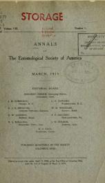 Annals - Entomological Society of America 8, no.1_cover