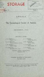 Annals - Entomological Society of America 7, no.4_cover