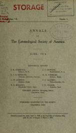 Annals - Entomological Society of America 7, no.2_cover
