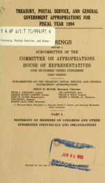 Treasury, Postal Service, and general government appropriations for fiscal year 1994 : hearings before a subcommittee of the Committee on Appropriations, House of Representatives, One Hundred Third Congress, first session Pt. 6_cover