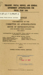 Treasury, Postal Service, and general government appropriations for fiscal year 1994 : hearings before a subcommittee of the Committee on Appropriations, House of Representatives, One Hundred Third Congress, first session Pt. 1B_cover