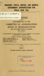Treasury, Postal Service, and general government appropriations for fiscal year 1994 : hearings before a subcommittee of the Committee on Appropriations, House of Representatives, One Hundred Third Congress, first session Pt. 2_cover