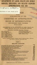 Departments of Labor, Health and Human Services, Education, and related agencies appropriations for 1995 : hearings before a subcommittee of the Committee on Appropriations, House of Representatives, One Hundred Third Congress, second session Pt. 6_cover