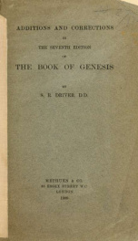 Additions and corrections in the seventh edition of the book of Genesis_cover