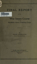 Final report of the War issues of the Students' army training corps_cover