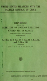 United States relations with the People's Republic of China [microform] : hearings, Ninety-second Congress, first session .._cover
