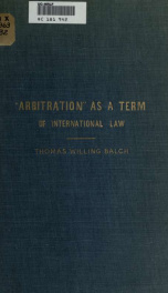"""Arbitration"" as a term of international law_cover"