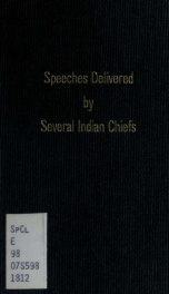 Speeches delivered by several Indians chiefs.. also an extract of a letter from an Indian chief_cover