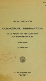 Oceanographic instrumentation : final report of the Committee on Instrumentation_cover