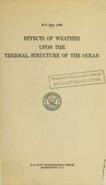 Effects of weather upon the thermal structure of the ocean. Progress report no. 1_cover