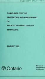 Guidelines for the protection and management of aquatic sediment quality in Ontario : report_cover