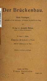 Der Brückenbau. Nach Vorträgen, gehalten an der deutschen technischen Hochschule in Prag v.03 pt.01_cover