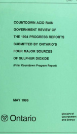 Countdown acid rain : summary and analysis of the ... progress reports by Ontario's four major sources of sulphur dioxide Final Report_cover