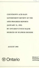 Countdown acid rain : summary and analysis of the ... progress reports by Ontario's four major sources of sulphur dioxide 14th Report_cover