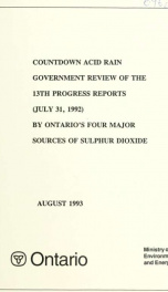 Countdown acid rain : summary and analysis of the ... progress reports by Ontario's four major sources of sulphur dioxide 13th Report_cover