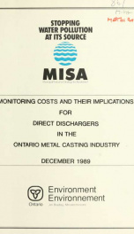 Monitoring costs and their implications for direct dischargers in the Ontario metal casting industry_cover