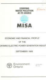 Economic and financial profile of the Ontario electric power generation industry : Municipal-Industrial Strategy for Abatement (MISA) : report_cover