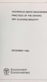 Hazardous waste management practices in the Ontario dry cleaning industry_cover
