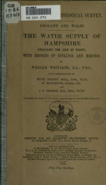 The water supply of Hampshire (including the Isle of Wight, with records of sinkings and borings_cover