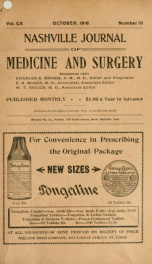 Nashville Journal of Medicine and Surgery v.110 n.10_cover