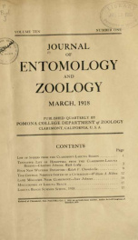 Journal of Entomology and Zoology 1918 v.10 September_cover