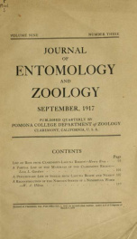 Journal of Entomology and Zoology 1917 v.09 September_cover