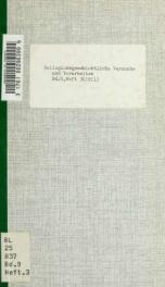 Religionsgeschichtliche Versuche und Vorarbeiten 09 pt 3_cover
