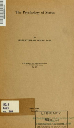Archives of psychology no 269_cover