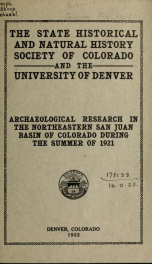 Archaeological research in the north-eastern San Juan basin of Colorado during the summer of 1921 by Jean Allard Jeancon_cover