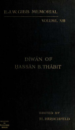 The Diwan of Hassan Thabit (ob.A.H.54);_cover