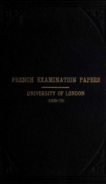 French examination papers set at the University of London, from 1839 to 1871_cover