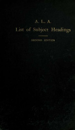 List of subject headings for use in dictionary catalogs_cover