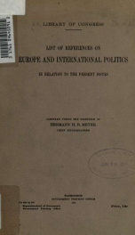 List of references on Europe and international politics in relation to the present issues_cover