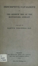 Descriptive catalogue of the Hebrew MSS. of the Montefiore Library_cover