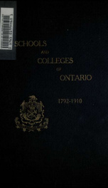The establishment of schools and colleges in Ontario, 1792-1910 2_cover